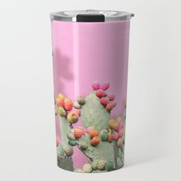 Prickly Pear plants on Pink Travel Mug
