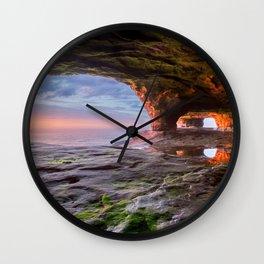 Sea Cave Sunset on Lake Superior Wall Clock