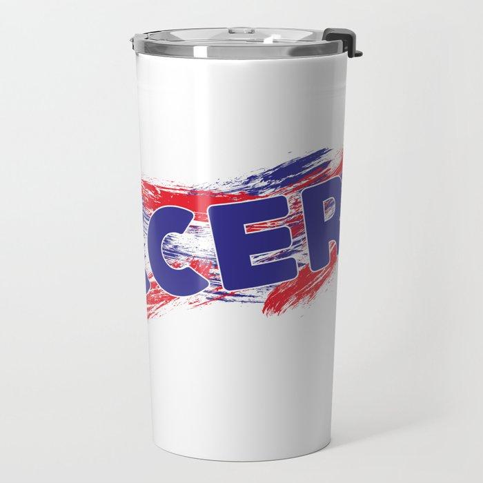 Soccer Red, White and Blue Travel Mug