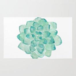 Watercolor Succulent print in seafoam green Rug