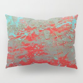 texture - aqua and red paint Pillow Sham