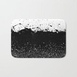 Black and White Splatter Theme Bath Mat