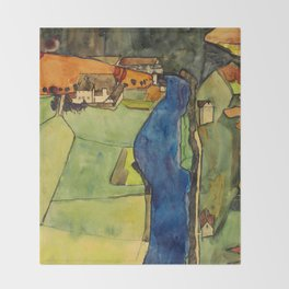"Egon Schiele ""Stadt am blauen Fluss (Town on the blue river)"" Throw Blanket"