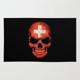 Dark Skull with Flag of Switzerland Rug