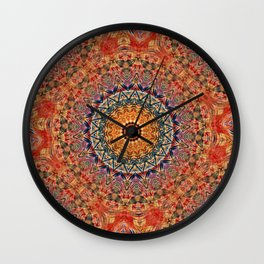 Indian Summer II - Colorful Boho Feather Mandala Wall Clock