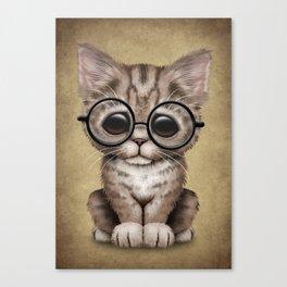 Cute Brown Tabby Kitten Wearing Eye Glasses Canvas Print
