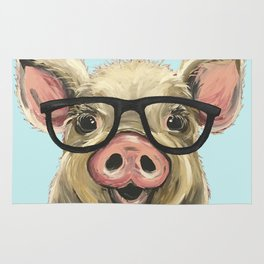 Cute Pig Painting, Farm Animal with Glasses Rug