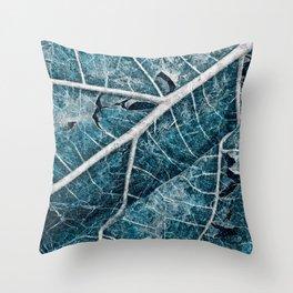 Frozen Winter Leaf Throw Pillow