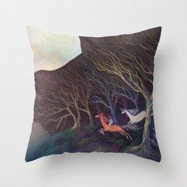 Adventures in the Dark Woods Throw Pillow
