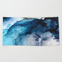 White Sand Blue Sea - Alcohol Ink Painting Beach Towel