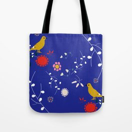 Bird and blossom electric blue Tote Bag