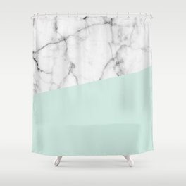 Real White marble Half pastel Mint Green Shower Curtain