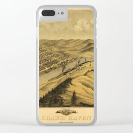 Bird's Eye View of Grand Haven, Michigan (1868) Clear iPhone Case