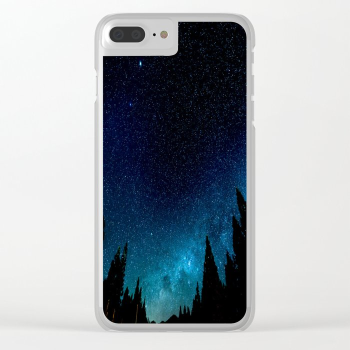 Black Trees Turquoise Milky Way Stars Clear iPhone Case