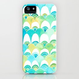 blue and green scale pattern iPhone Case