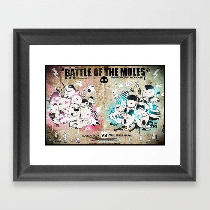 Battle of the moles Framed Art Print