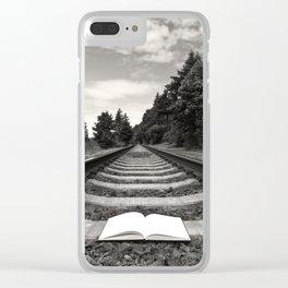 Bellingham Railroad Tracks, Washington Forest, Book Clear iPhone Case