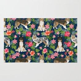 Sheltie shetland sheepdog hawaii floral hibiscus flowers pattern dog breed pet friendly Rug