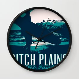 montauk ditch plains vintage surf poster Wall Clock