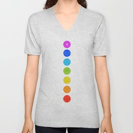 Chakra symbols with respective colors- Spiritual gifts Unisex V-Neck