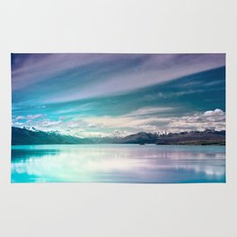 Peaceful Blue Lake Pukaki, New Zealand Rug
