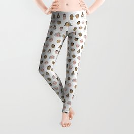 Faces people illustration hand drawn different people all shapes and sizes pattern Leggings