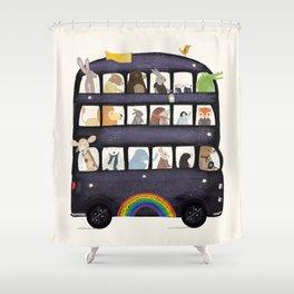 the rainbow bus Shower Curtain