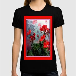 Red Geraniums Floral Red Abstract T-shirt