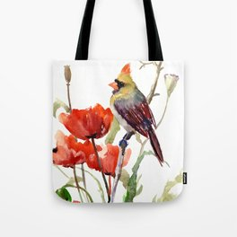 Cardinal And Poppy Flowers Tote Bag