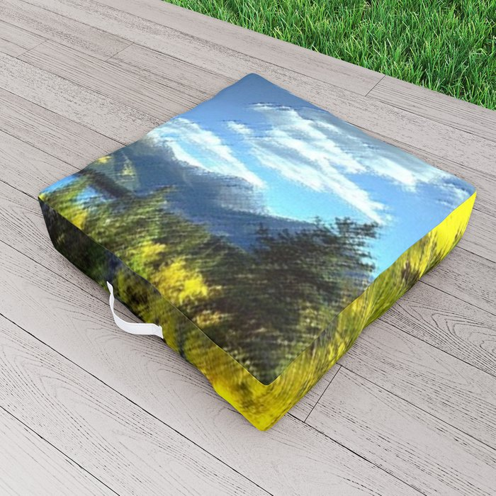 Aspen Trees at Twin Lakes, Colorado Painting by Jeanpaul Ferro Outdoor Floor Cushion