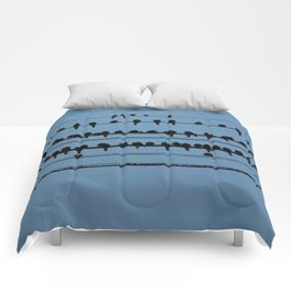 birds on a wire feeling blue Comforters
