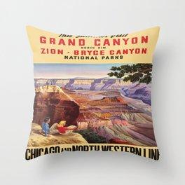 Vintage poster - Grand Canyon Throw Pillow