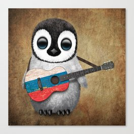 Baby Penguin Playing Russian Flag Guitar Canvas Print