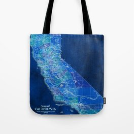 California, blue old vintage map, original art for office decor Tote Bag