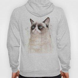 Grumpy Watercolor Cat Geek Meme Whimsical Animals Hoody