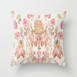 Bunny Bird Love - Bagaceous Throw Pillow