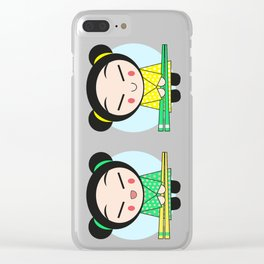 Funny Japanese Girls Clear iPhone Case