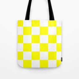 Large Checkered - White and Yellow Tote Bag