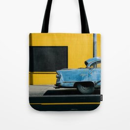 Rusty Blue Car and Yellow Wall Tote Bag