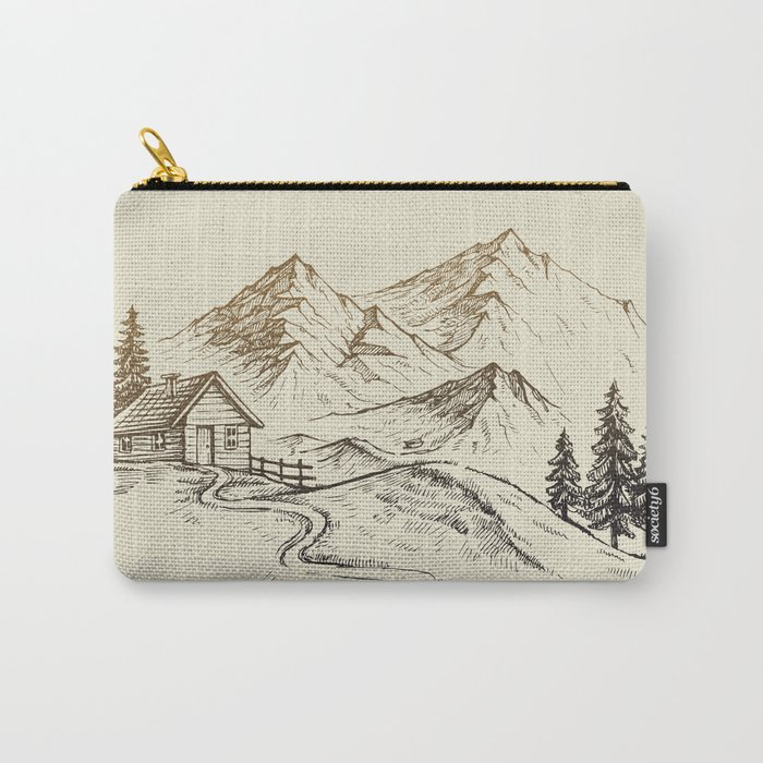 Vector of Mountain Landscape Carry-All Pouch