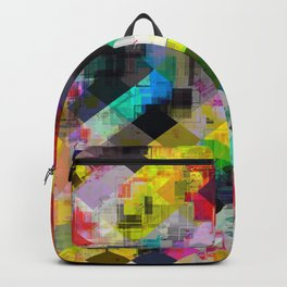 psychedelic square pixel pattern abstract background in red pink blue yellow green Backpack