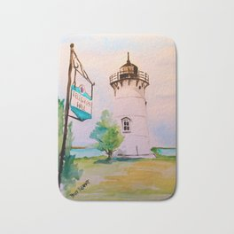East Chop (Telegraph Hill) Lighthouse Martha's Vineyard Watercolor Bath Mat
