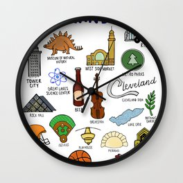 Cleveland Ohio Icons Wall Clock