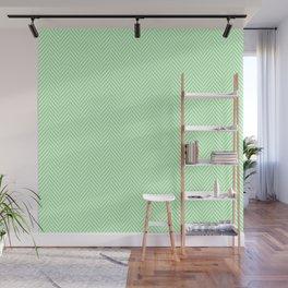 Classic Mint Green & White Herringbone Pattern Wall Mural