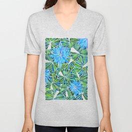 Water Lilies – Blue & Green Palette Unisex V-Neck