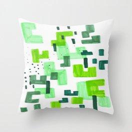Colorful Green Minimalist Abstract Mid Century Modern Pattern Geometric Fun Art Throw Pillow