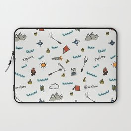 Adventure Pattern | Camping Pattern | Hiking Pattern | Hand Drawn Outdoors Pattern Laptop Sleeve