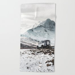 on the road in iceland Beach Towel