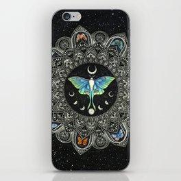 Lunar Moth Mandala with Background iPhone Skin