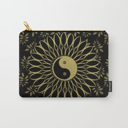 'Yin Yang Golden Daisy' Gold Black mandala Carry-All Pouch